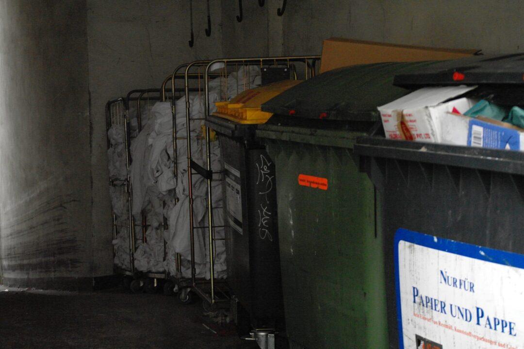 Müllcontainer für Papier und Pappe sowie Bioabfall und Kunststoffe hinter einem Supermarkt